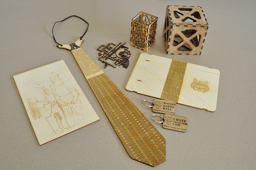 objects made with laser cutter, keychains, cubes, etc.