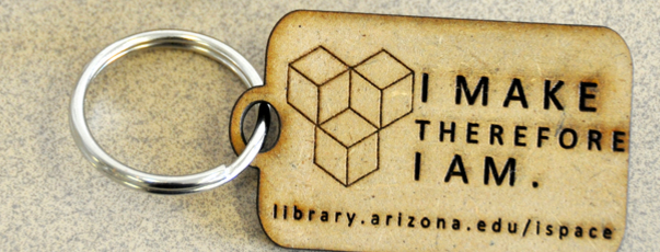 """laser cut keychain: """"I make therefore I am."""""""
