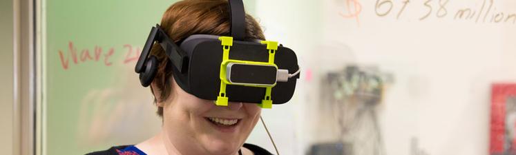 student using Oculus Rift