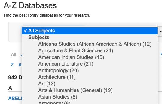 Menu of database subjects