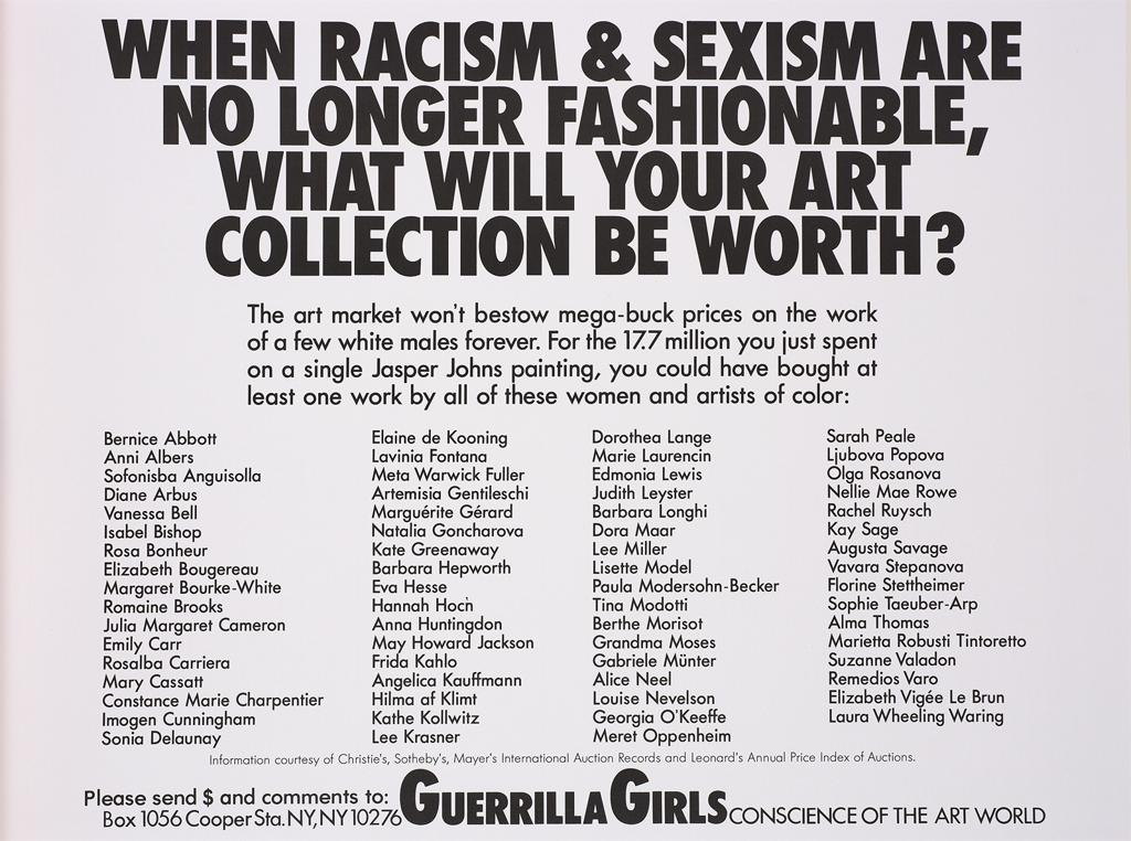 Guerilla Girls Poster When Racism and Sexism are no longer fashionable, what will your art be worth?