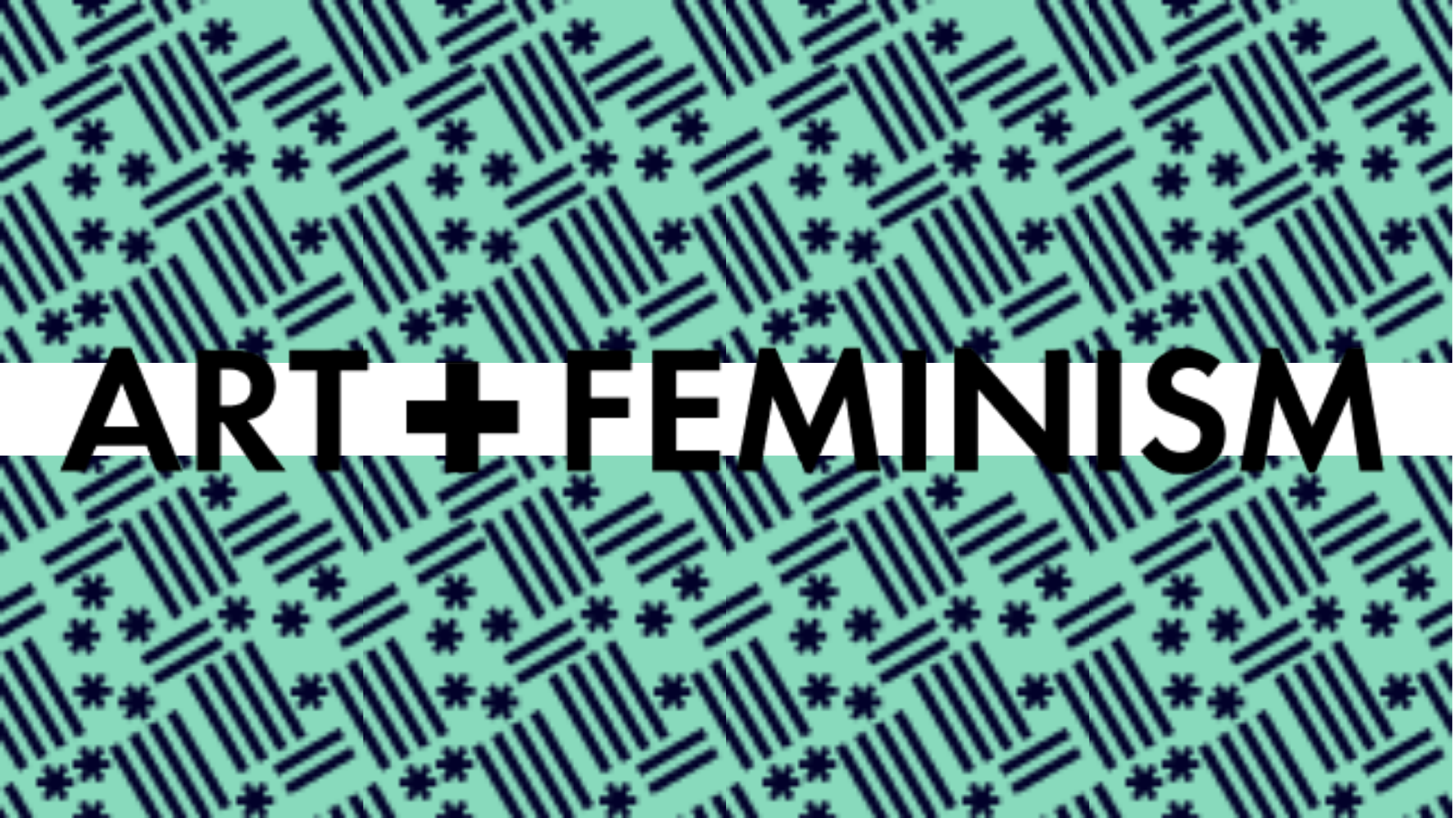 Art+Feminism Logo on top of a green patterned background
