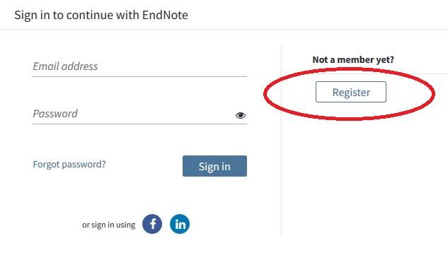 EndNote registration page