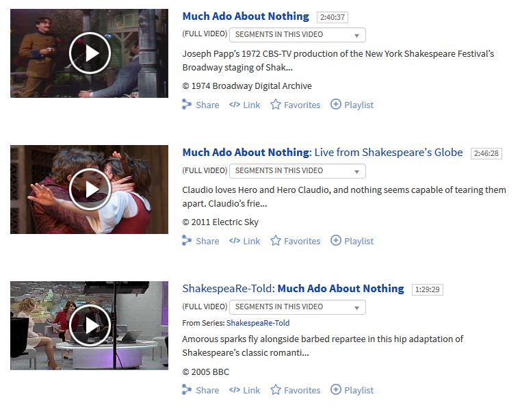 Results for Much Ado About Nothing search