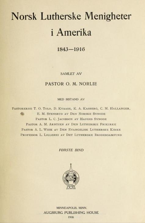 Title page for Norske lutherske menigheter i Amerika