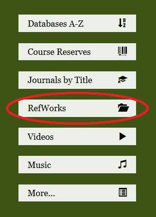 green box on library webpage with RefWorks circled