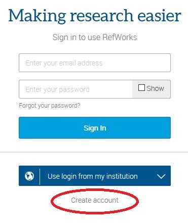 RefWorks box with Create Account circled