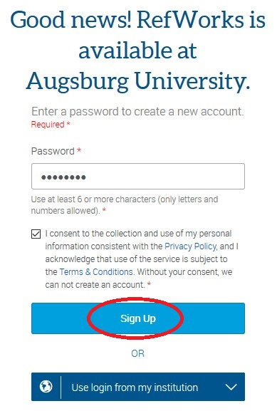 RefWorks Available at Augsburg box with Sign Up circled