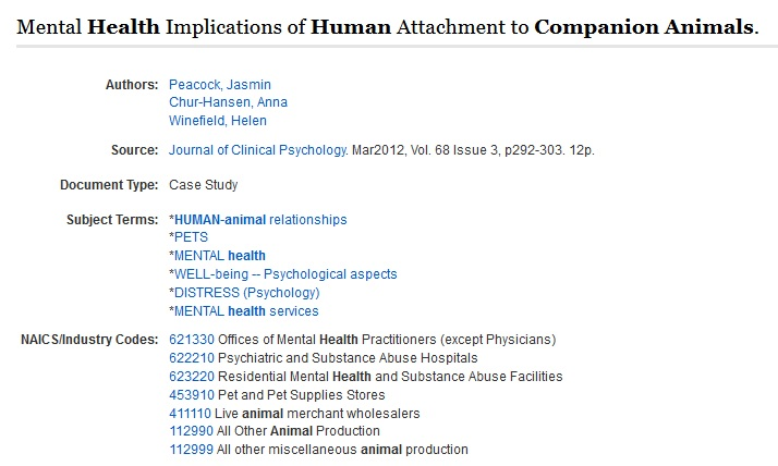EBSCO Academic example of animal-companion article