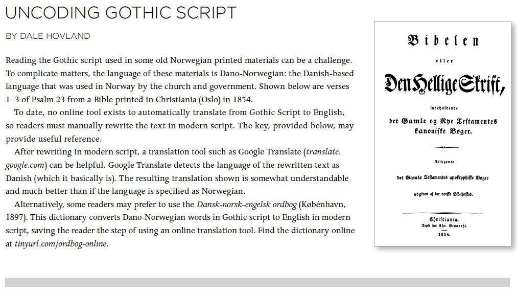 First part of Dale Hovland article from fall 2016 NAHA newsletter: explains history of Gothic font and ways to translate it