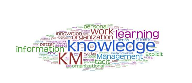 Word cloud of concepts associated with knowledge management