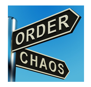 Signpost indicating order or chaos