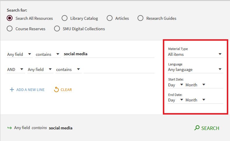 Advanced search choices for narrowing searches