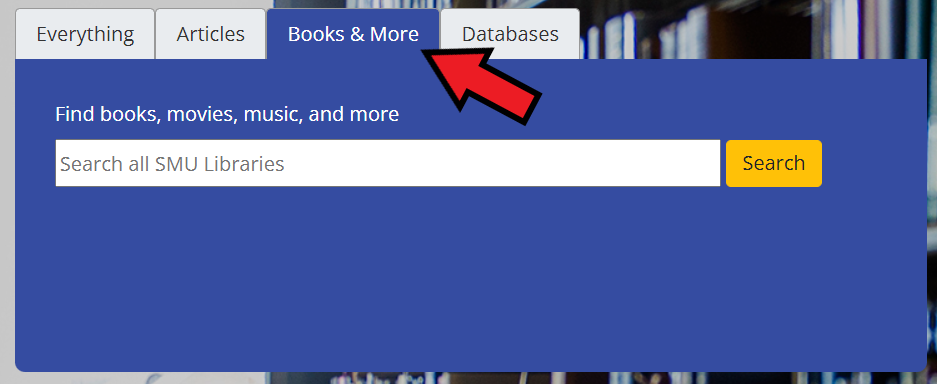 screenshot of library search with arrow pointing at books & more tab