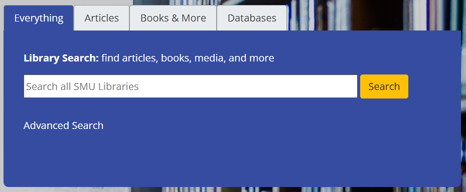 Screenshot of Library Search on main library page