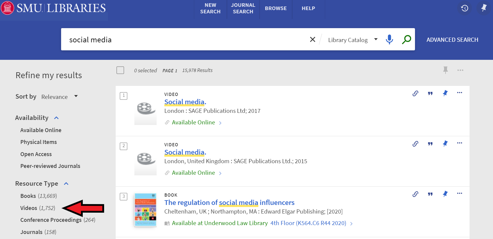 screenshot of a search for social media with an arrow pointing to the resource type of videos