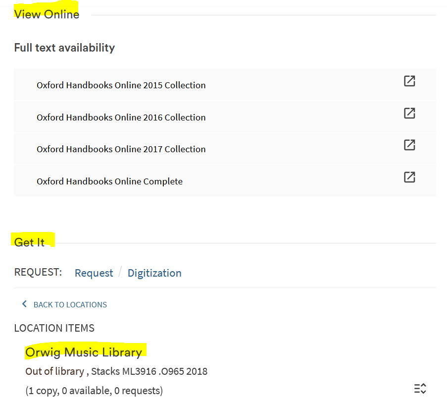 view of book record in BruKnow with online, interlibrary loan and library location page headers highlighted.