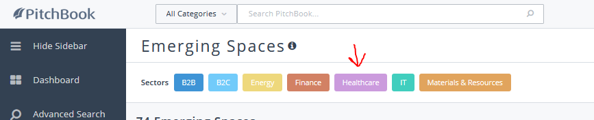 "screenshot of pitchbook emerging trends screen with an arrow pointing at the ""Healthcare"" filter."
