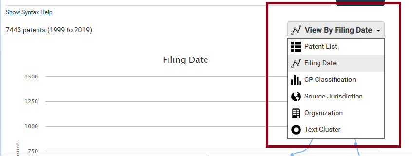 patentscout filing date menu
