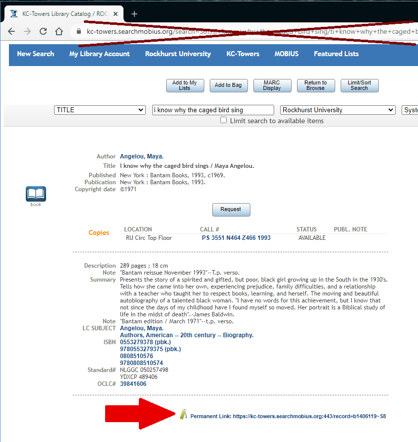 Permanent link highlighted within catalog record