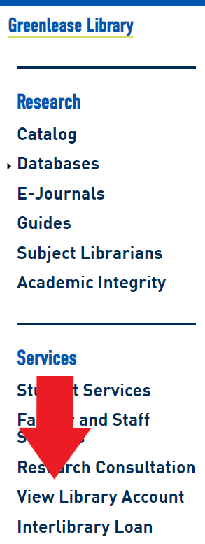 View Library Account link on homepage menu