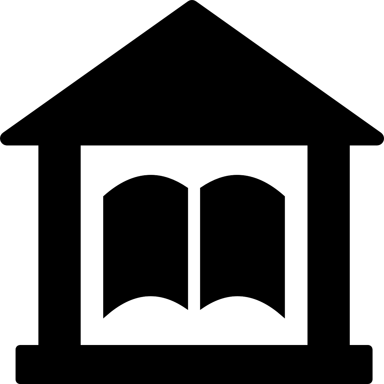 drawing of building with open book inside