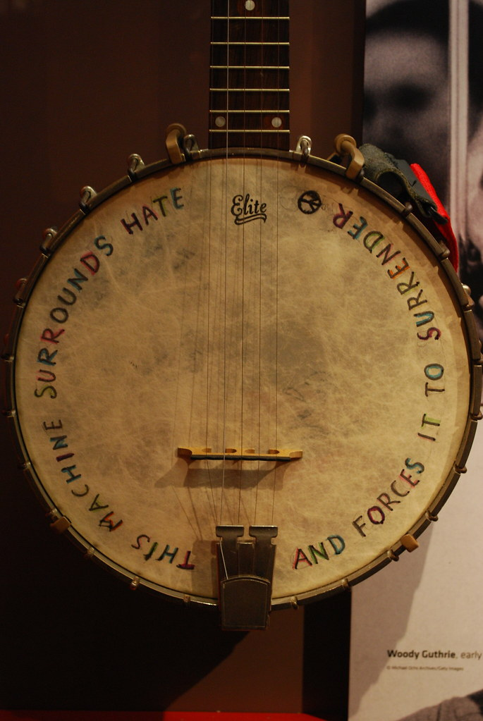 View of Pete Seeger's banjo
