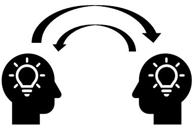 Lightbulbs inside of heads & reciprocating arrows