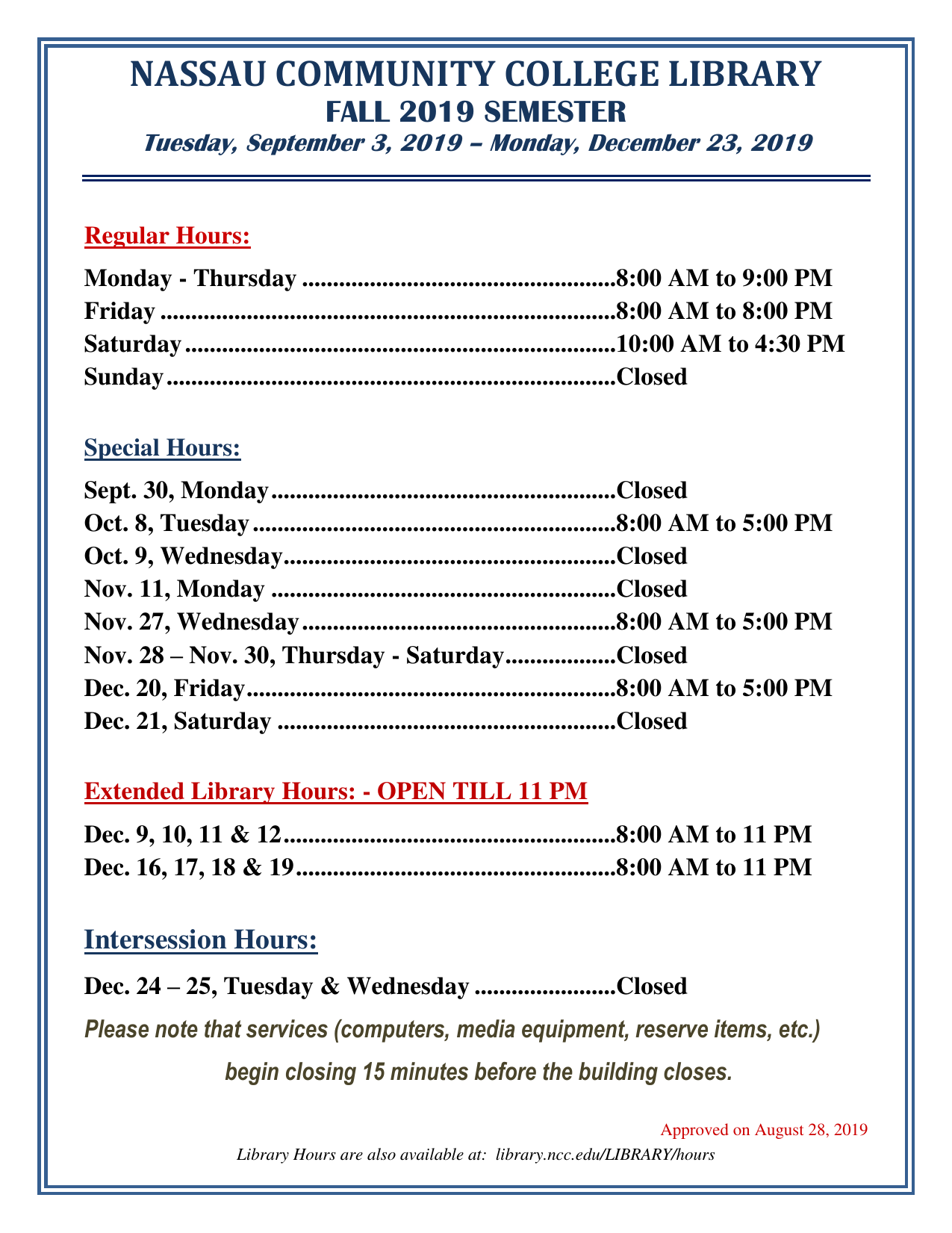 fall 2019 hours for the library