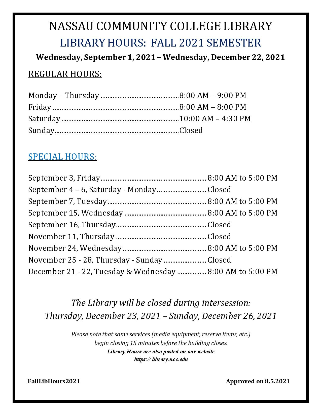 Fall 2021 library hours