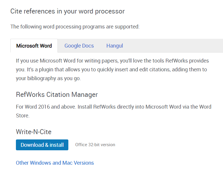 screenshot of refworks tools page -cite references in your word processor on MS word tab
