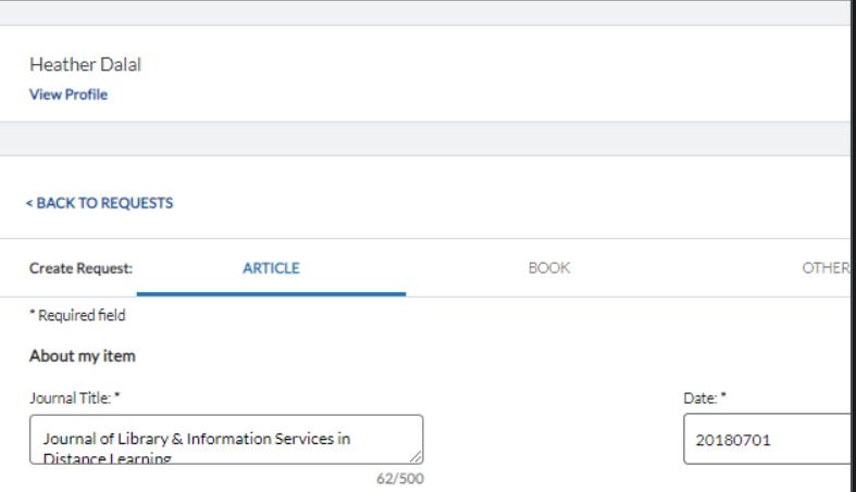 screenshot of ILL form