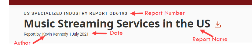 image from Ibisworld with arrows pointing to the location of author, date, report number, and report name.