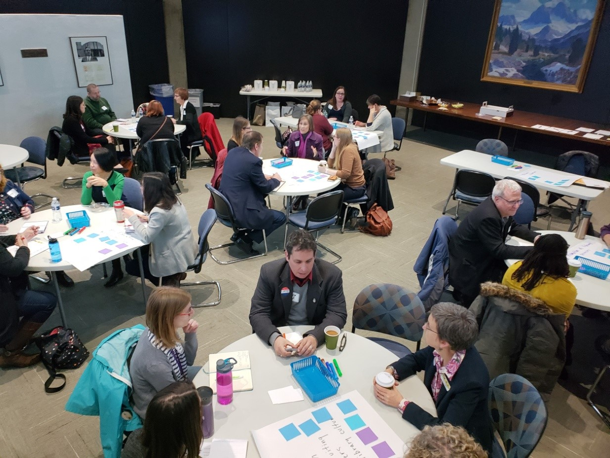 overhead shot of groups at tables            (Image Courtesy of Dan Bostrom, RAILS)