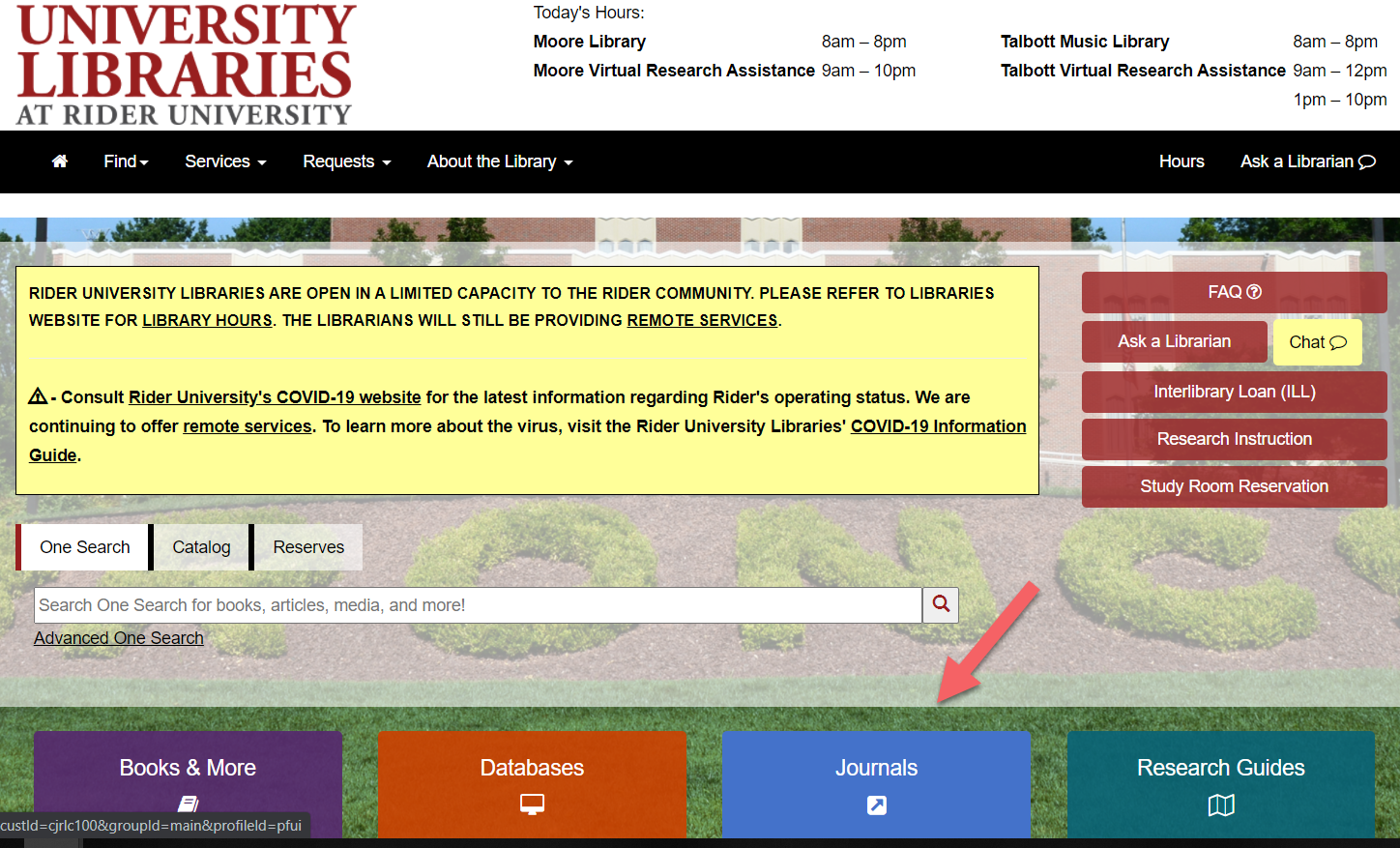 screenshot library website with an arrow pointing to the journals button.