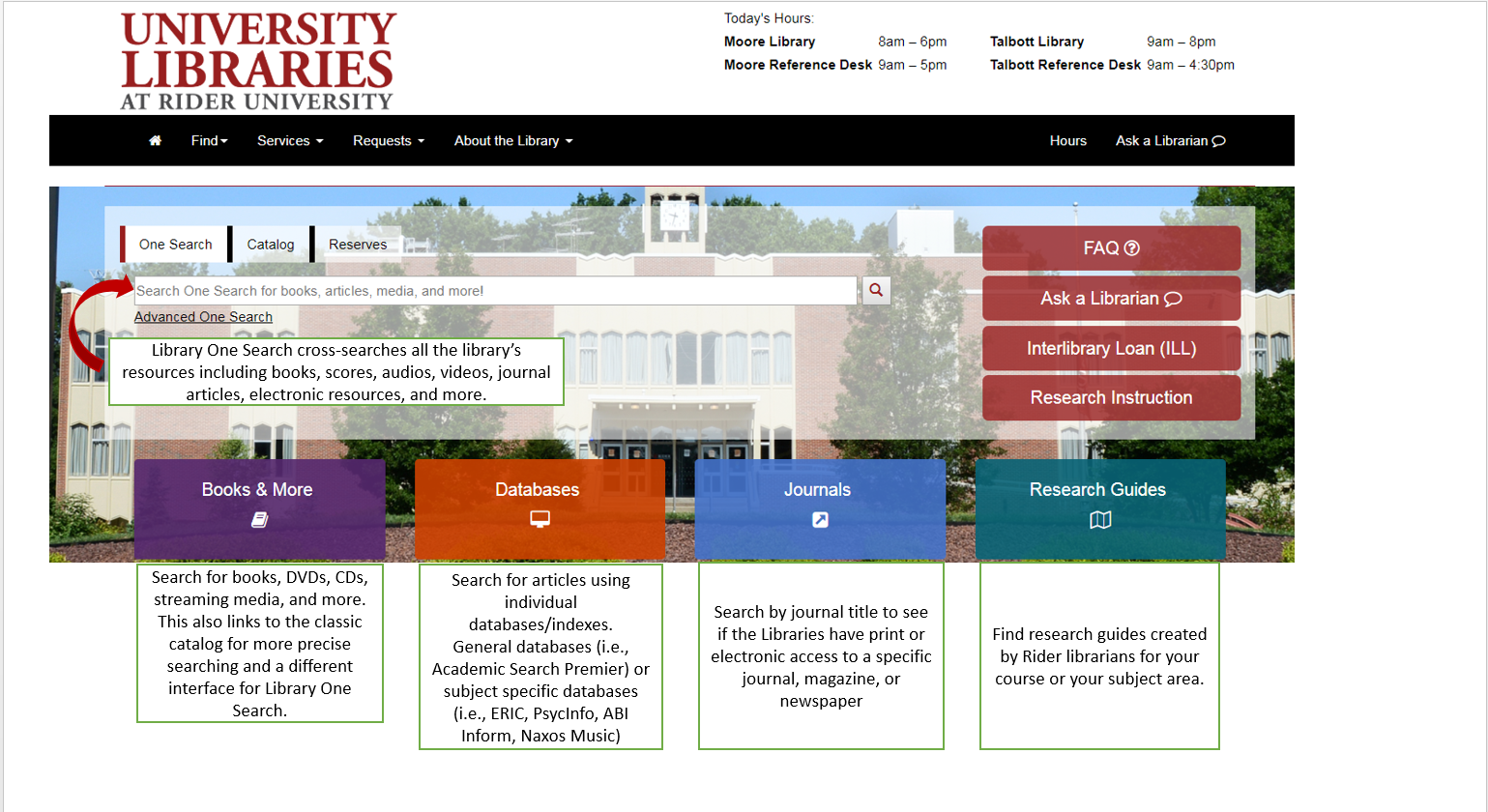 screenshot of library website