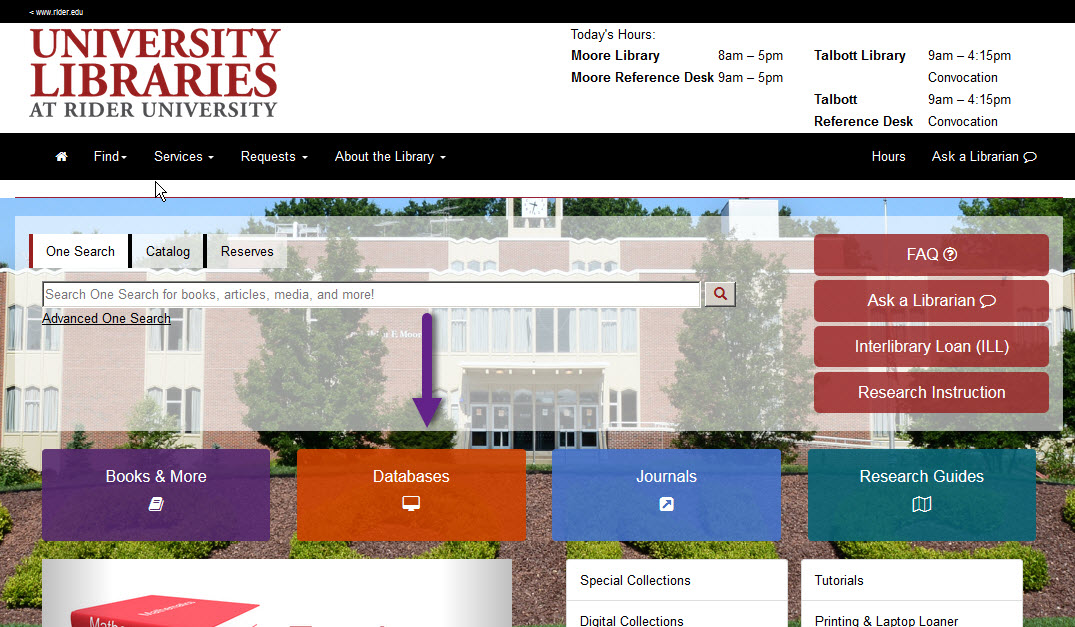 Screenshot of library.rider.edu with a purple arrow pointing to the orange databases  button (middle left bottom)