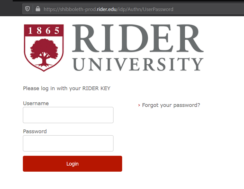 screenshot of Rider Key login page