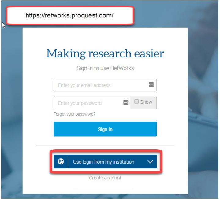 refworks screenshot -box around use login from institution