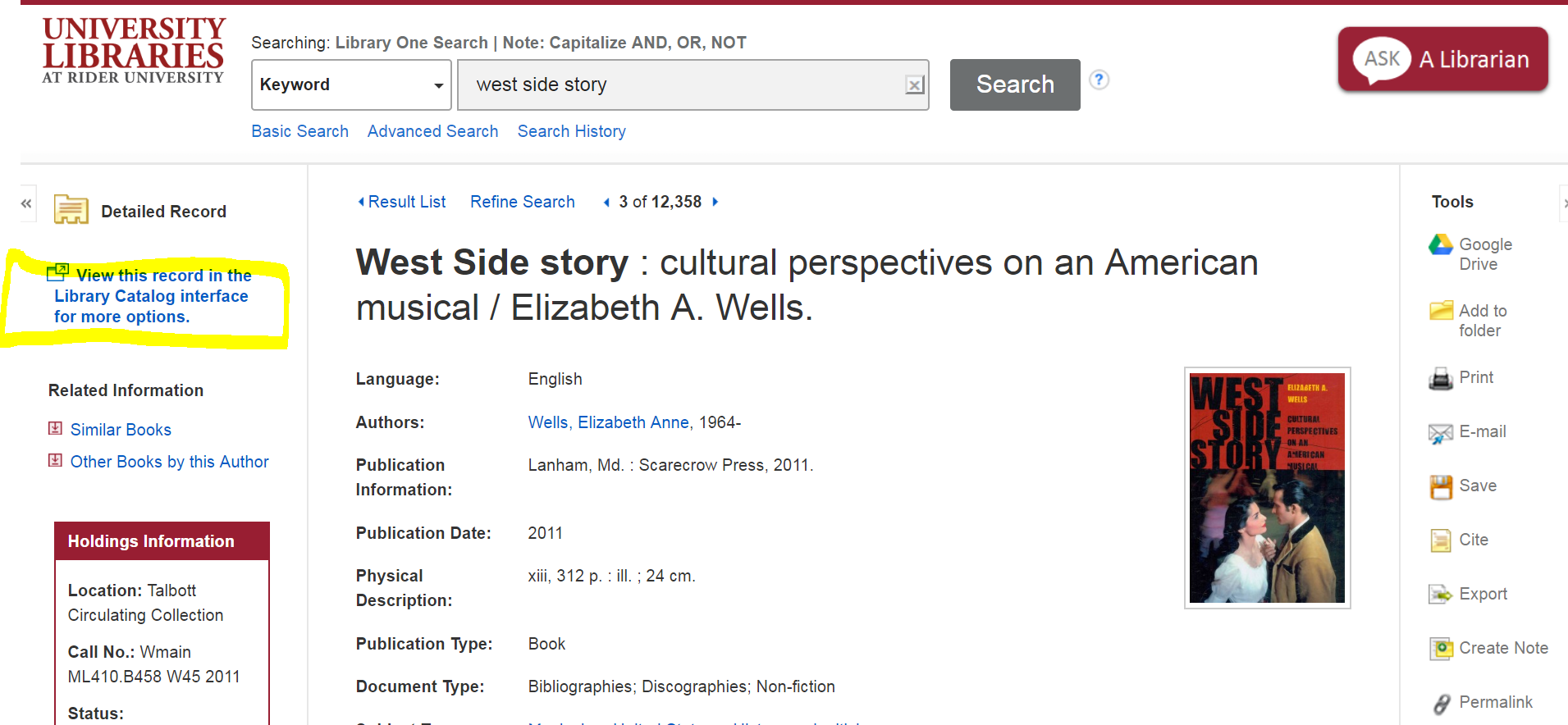 "screenshot of a book in library one search, highlighting the location on the page, where it says ""view this record in the library catalog interface"" so users can link to the catalog and request the item."