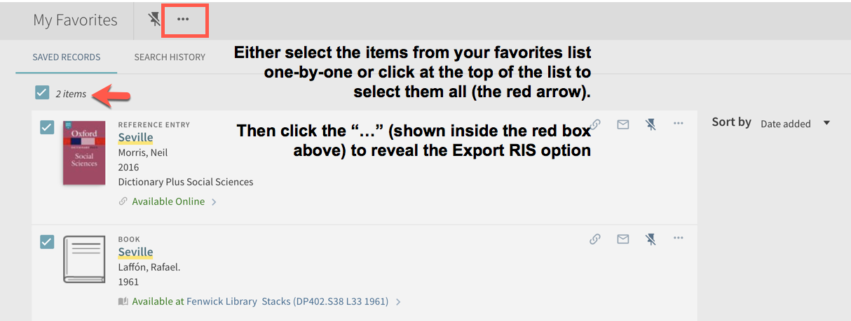 image of RIS export option