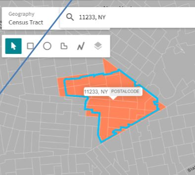 A Zip Code boundary and its selected Census Tracts