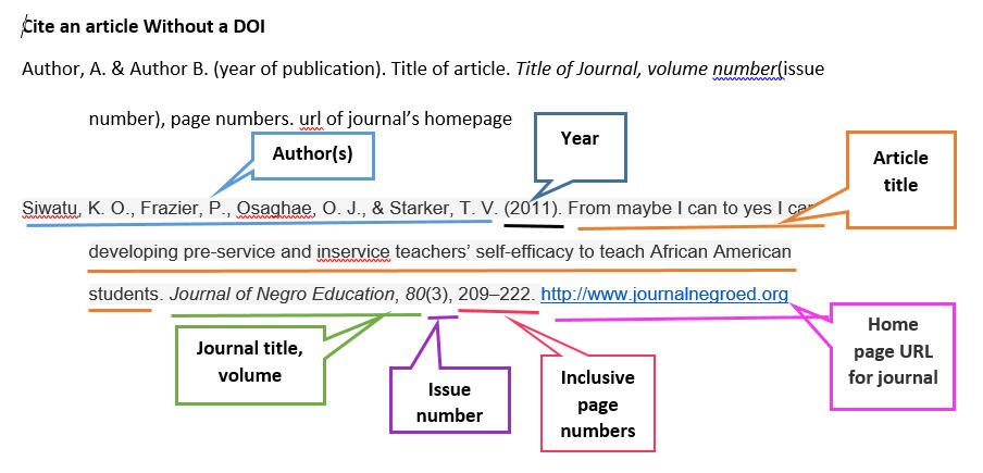 Cite a journal article without a doi in APA 7th edition
