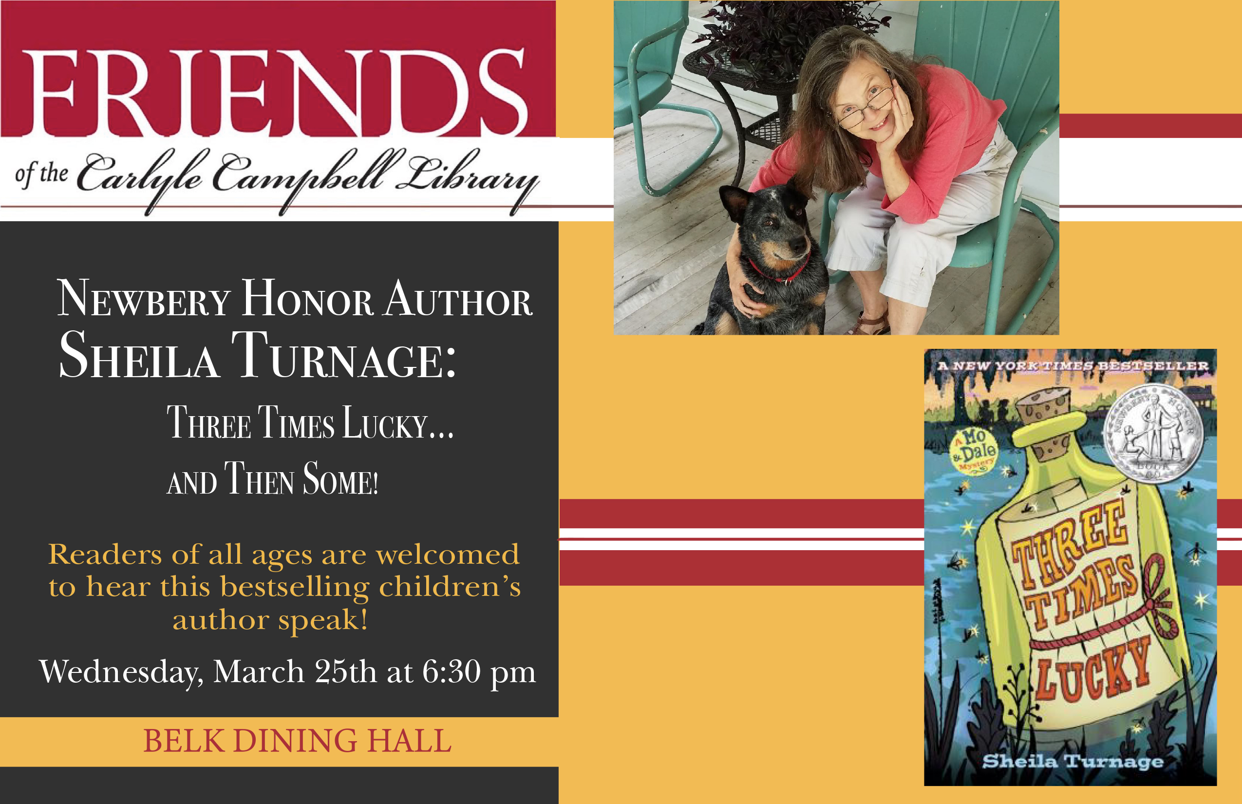ad for postponed spring 2020 dinner with Sheila Turnage