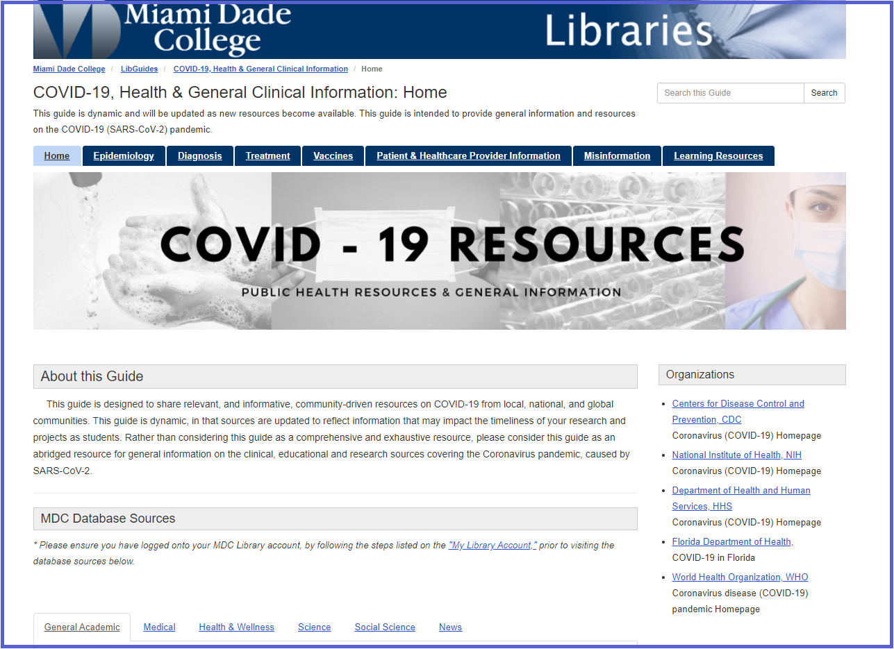 COVID-19, Health & General Clinical Information LibGuide