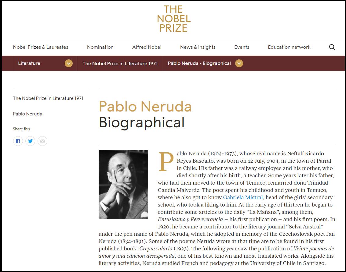 Nobel Prize Webpage on Pablo Neruda
