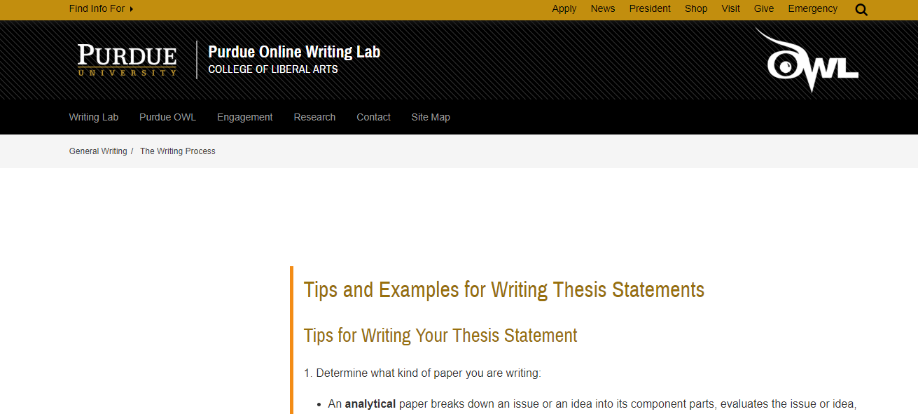 Link to Purdue OWL tips on writing a thesis statement