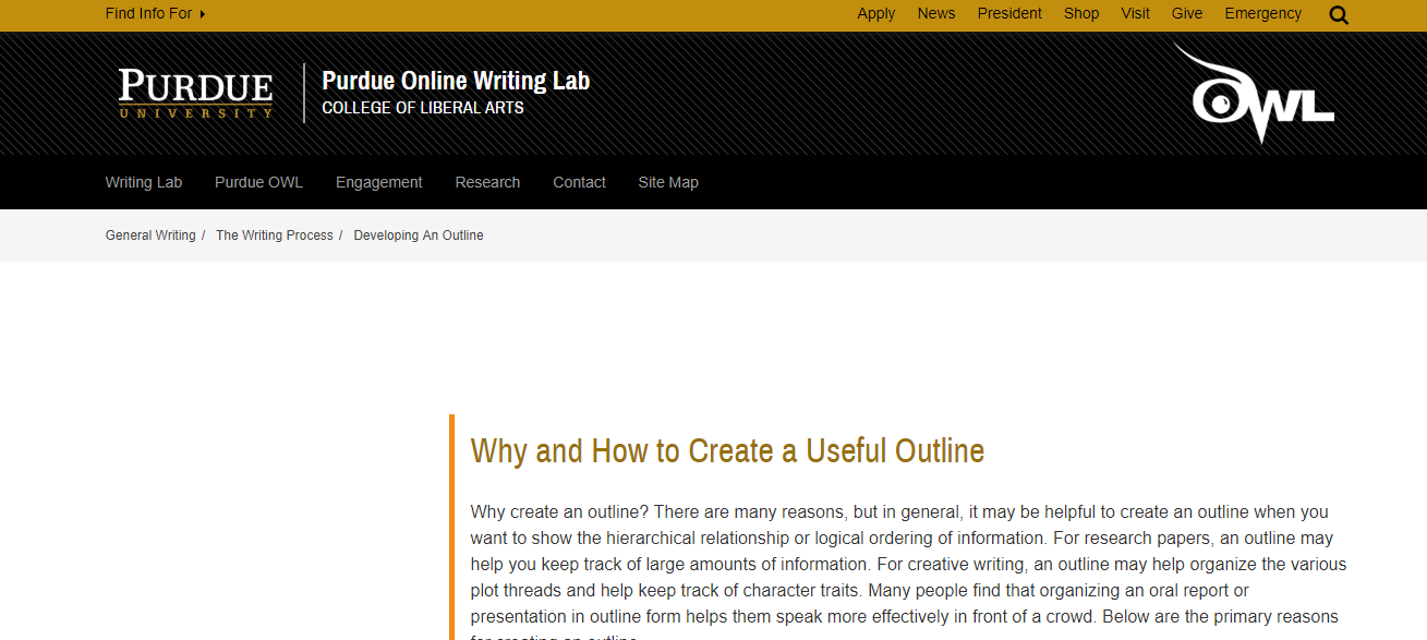 Purdue OWL link for creating an Outline