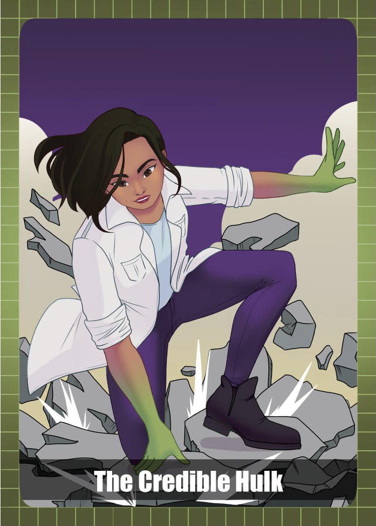 Woman in a lab coat and purple pants morphing into the Incredible Hulk and breaking the ground with her fist