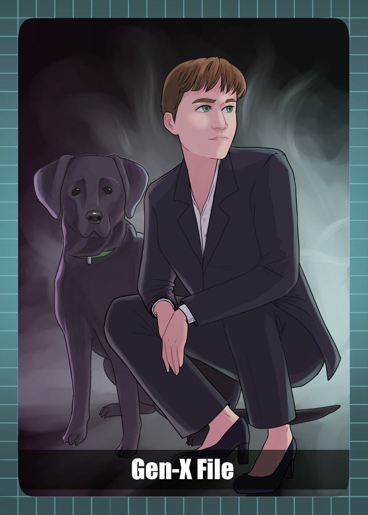 woman in a pantsuit crouching next to a black lab